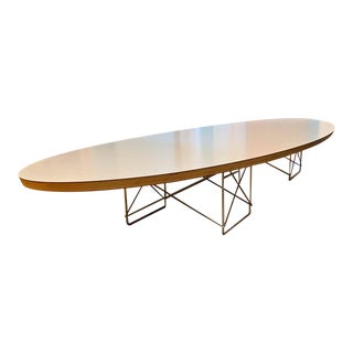 Mid Century Modern Eames by Herman Miller White Elliptical (Surfboard) Coffee Table For Sale