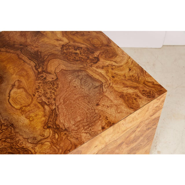 Midcentury Burled Wood Laminate Cube For Sale - Image 9 of 13