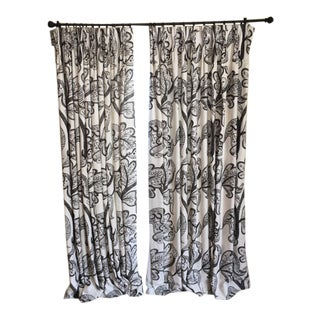 Russell Brown on Natural White Custom Made Curtain Panels - a Pair For Sale