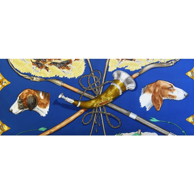 "Hermes Le Laissed Courre Hunt & Hounds Silk Feather/Down Pillow 34"" x 17"" - Image 4 of 12"