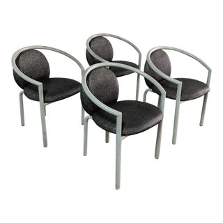 1980s Post Modern Tubular Steel Arm Chairs - Set of 4 For Sale