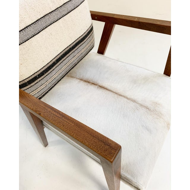 Animal Skin Franco Albini for Knoll Model 48 Chairs in Calfskin and Isabel Marant Silk Wool For Sale - Image 7 of 9