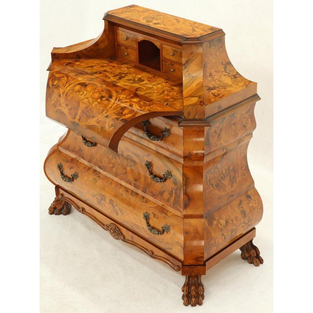 Wood Italian Bombe Inlay Olive Wood Dresser Drop Front Jewerly Compartment Secretary For Sale - Image 7 of 13