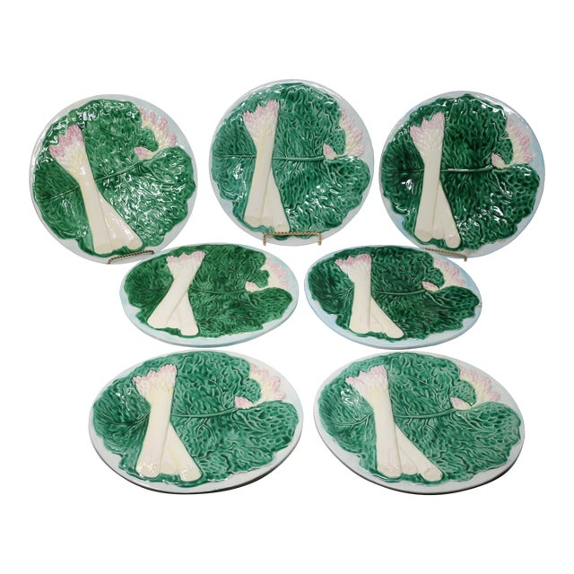 Vintage 1984 Majolica Cabbage and White Asparagus Plates - Set of 7 For Sale