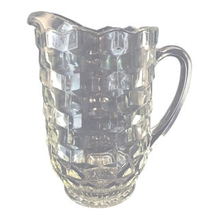 "Mid 20th Century Vintage Fostoria ""American"" Heavy Clear Faceted Glass Water Pitcher For Sale"