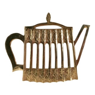 Vintage Brass Teapot Trivet For Sale