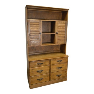 Brandt Ranch Oak Rustic Bookcase Hutch Top Chest of Drawers For Sale