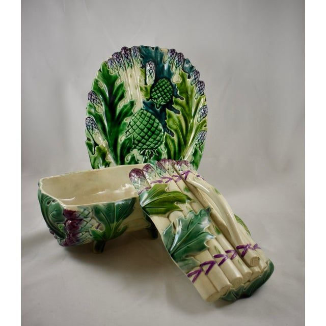 Ceramic Luneville French Faïence Majolica Asparagus Tureen & Under Tray, 3 pcs. For Sale - Image 7 of 11