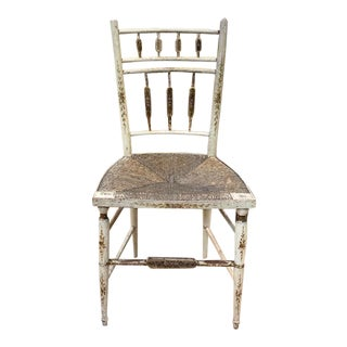 Antique Rush Seat Chair - Painted Floral and Gilt Stencil Design For Sale