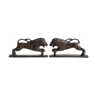 Dark Brass Lion Door Handles - a Pair For Sale