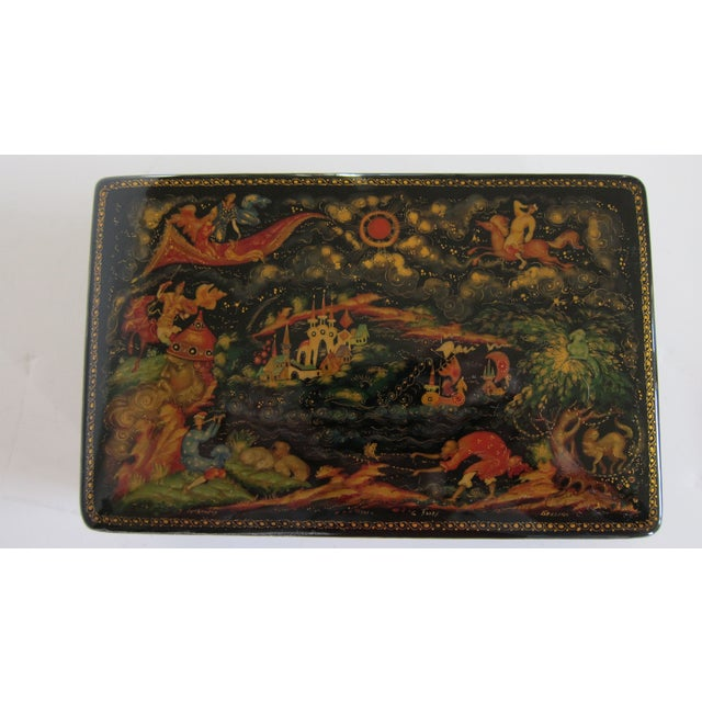 Asian Russian Lacquered Hinged Box For Sale - Image 3 of 7