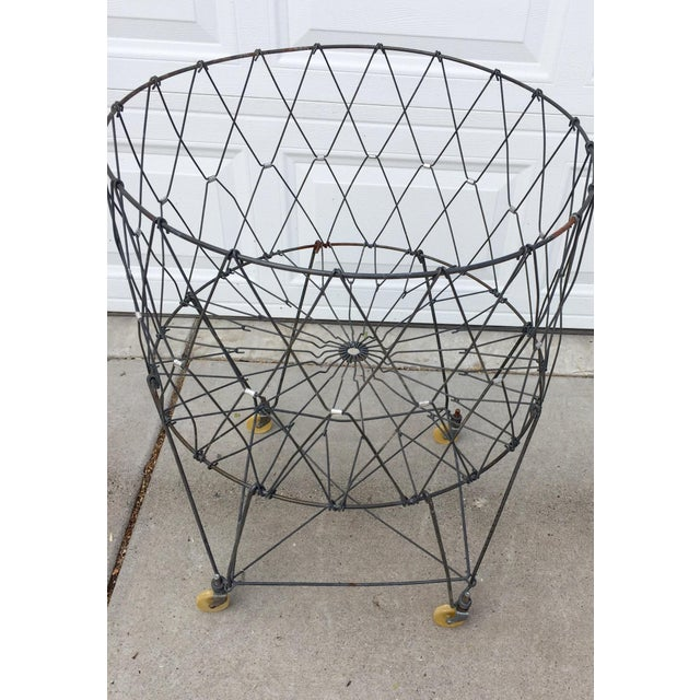 Vintage Industrial Collapsible Wire Laundry Basket on Casters For Sale - Image 12 of 13