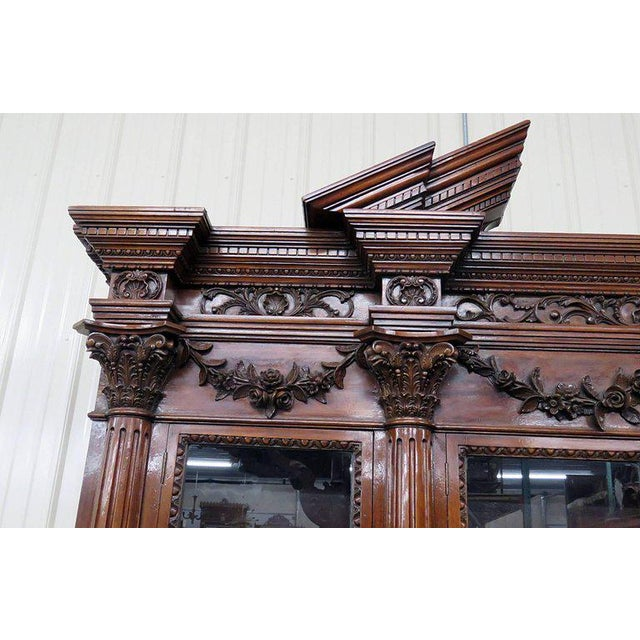 Wood Monumental Georgian Style Breakfront For Sale - Image 7 of 9