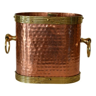 Art Deco French Hand Hammered Copper, Brass & Bronze Champagne Wine Ice Bucket For Sale