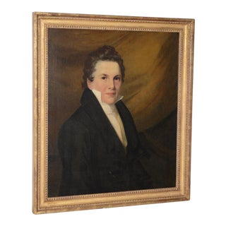 Early 19th Century Portrait of Oliver Pierce, 17 Years Old Oil Painting C.1820s For Sale