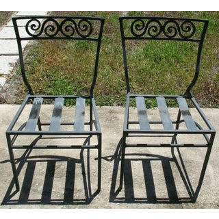 Antique Vintage Mizner Estate Art Deco Cast Aluminum Bistro Chairs - a Pair Preview