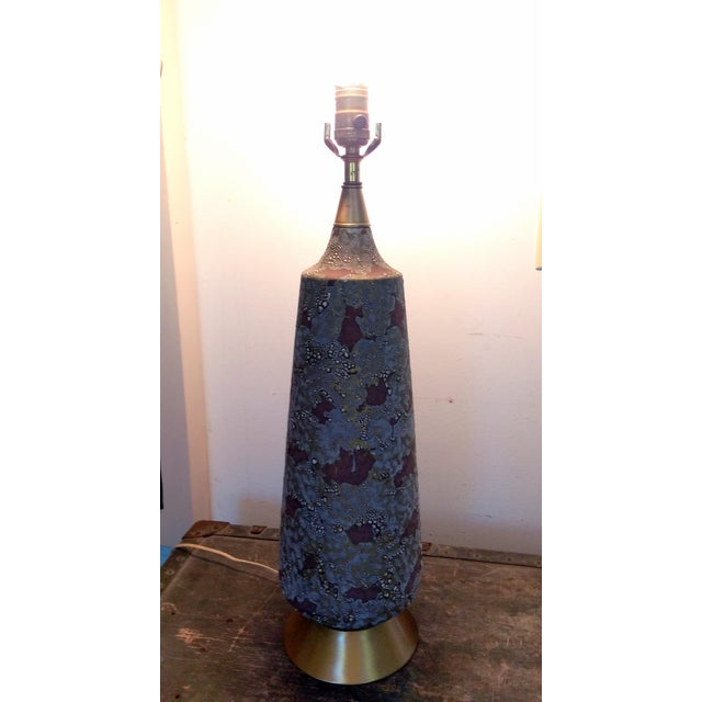 Mid-Century Space Camo Ceramic Table Lamp - Image 8 of 8