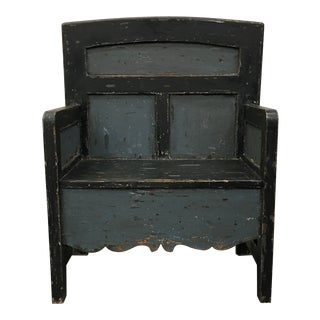 Vintage Painted Bishops Chair Hall Bench For Sale