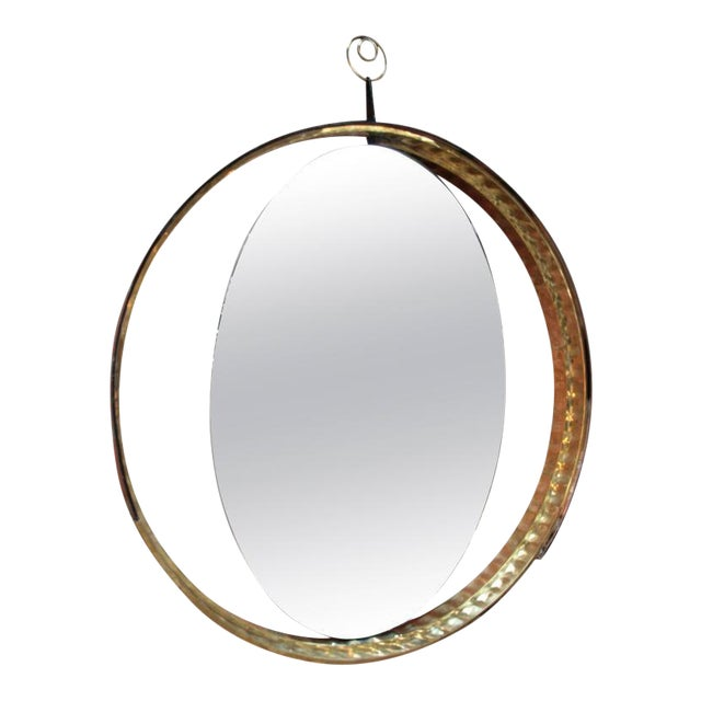 Italian Mirror with Wood and Brass Frame For Sale