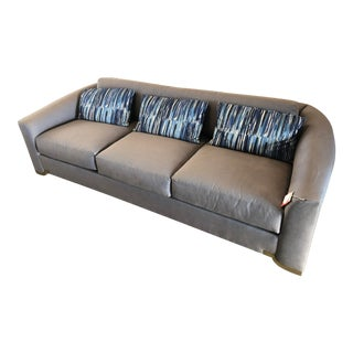 Blue Grey Donghia Halo Sofa with 3 Pillows For Sale