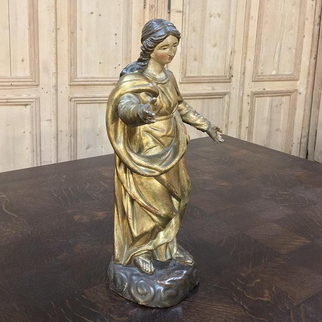 Early 19th Century 19th Century Giltwood Polychrome Statue of Madonna For Sale - Image 5 of 12