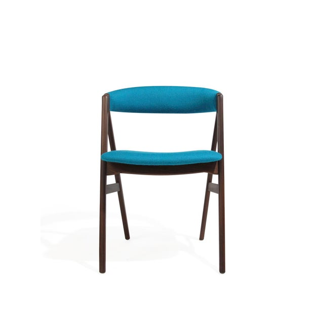 Mid-Century Modern Mid Century A-Frame Danish Turquoise Wool Dining Chairs - Set of 4 For Sale - Image 3 of 9
