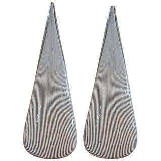 Circa 1970 Vetri Black & White Murano Glass Lamps - a Pair