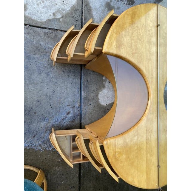 Heywood WakeField Curved Vanity & Matching Stool - 2 Pieces For Sale In Philadelphia - Image 6 of 11