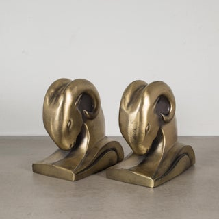 Art Deco Ram's Head Bookends by Cornell Foundry C.1930 Preview