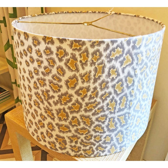 Traditional Custom Drum Lamp Shade in Brunschwig & Fils English Leopard For Sale - Image 3 of 5