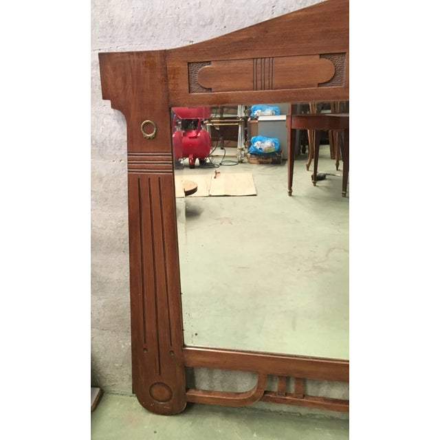 Art Deco Antique Arts & Crafts Carved Oak and Bronze Mirror, Circa 1920 For Sale - Image 3 of 9