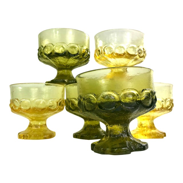 Mid-Century Tiffin Franciscan Madeira Olive Green and Cornsilk Yellow Sorbet Glasses- Set of Six For Sale