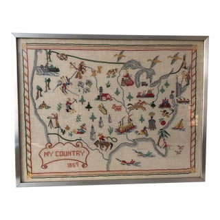 Vintage Hand-Stitched United States Map For Sale