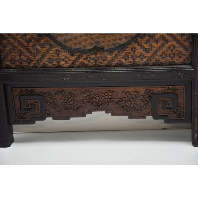 Vintage Chinese Colonial 6-Fold Woven Bamboo Screen For Sale - Image 10 of 11