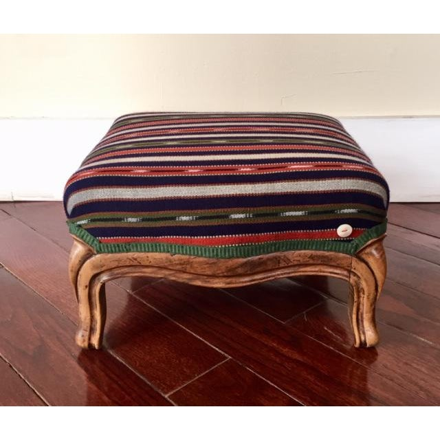 19th Century Vintage French Wood and Striped Fabric Footstool For Sale - Image 9 of 9