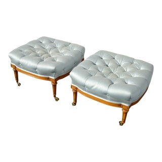 Pair Vintage French Country Baby Blue Tufted Ottomans on Brass Castors For Sale