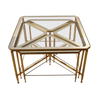 Five Piece Nesting Tables Brass Frames With Mirrored Tops For Sale