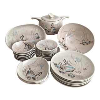 Bob White Red Wing Pottery Dish Set - 34 Piece Set For Sale