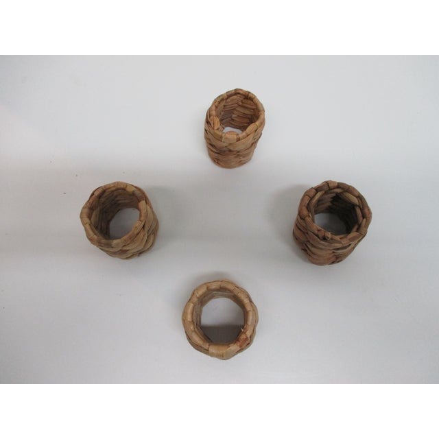 Set of (4) Round Seagrass Napkins Holders For Sale - Image 4 of 5