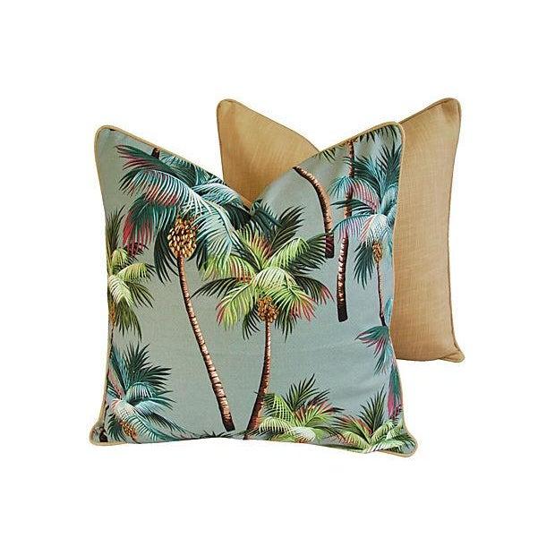 Custom Oasis Palm Tree Barkcloth Pillows- a Pair - Image 4 of 7