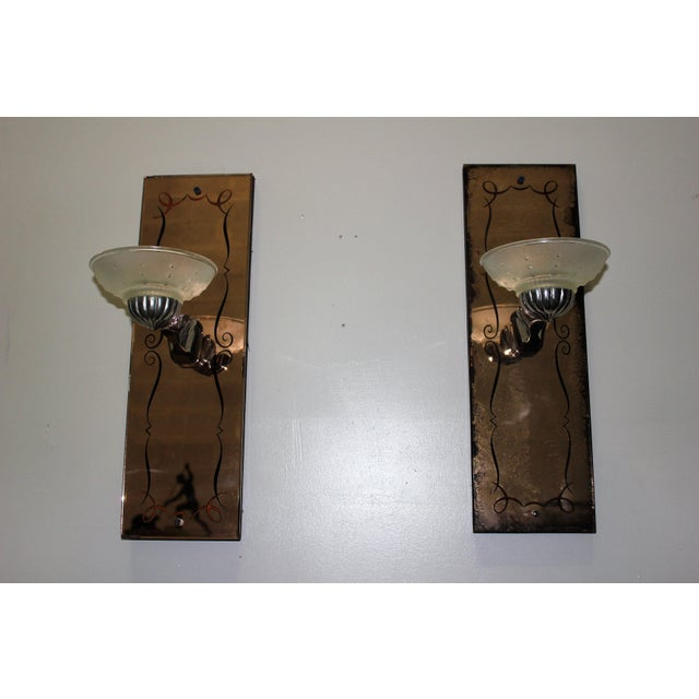 Pair of French Art Deco Pink Mirror Sconces by G.Leleu Circa 1940s - Image 2 of 11