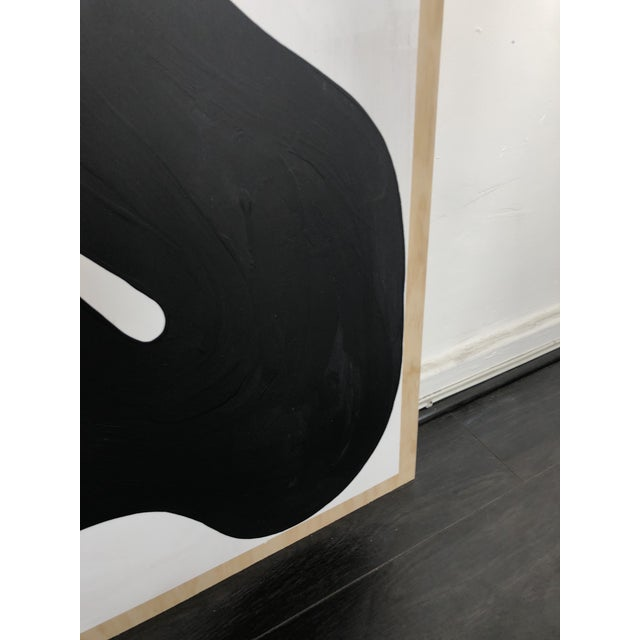 Black and White Run on Abstract Triptych Painting For Sale - Image 4 of 9