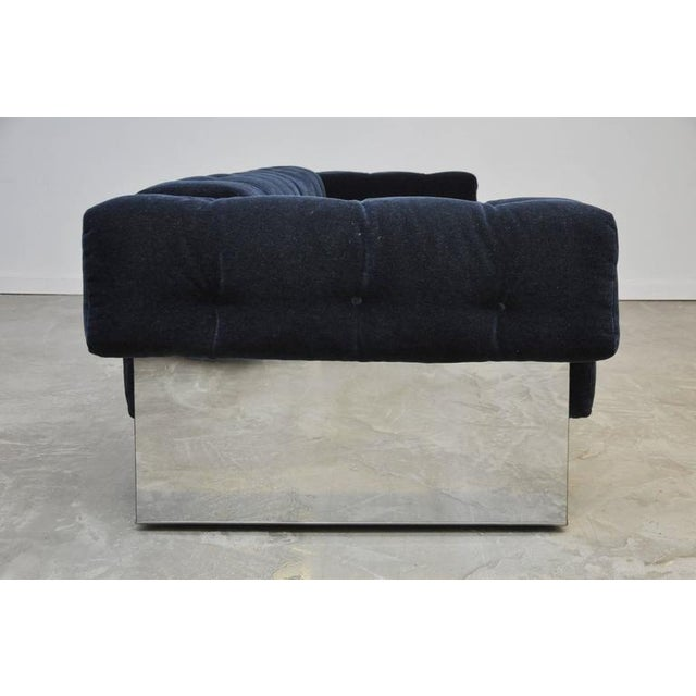 Rare chrome case sofa by Milo Baughman. Fully restored and reupholstered in beautiful blue mohair.