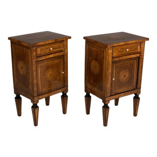 Italian Marquetry Side Tables-A Pair For Sale