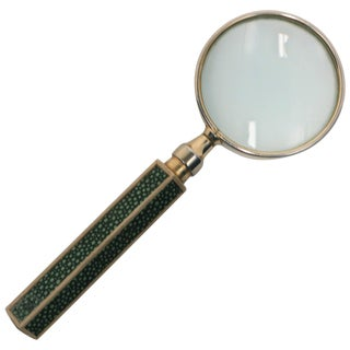 Magnifying Glass With Green Shagreen Esque Handle For Sale