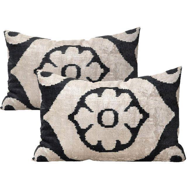 Allary Silk Velvet Ikat Pillows - A Pair For Sale