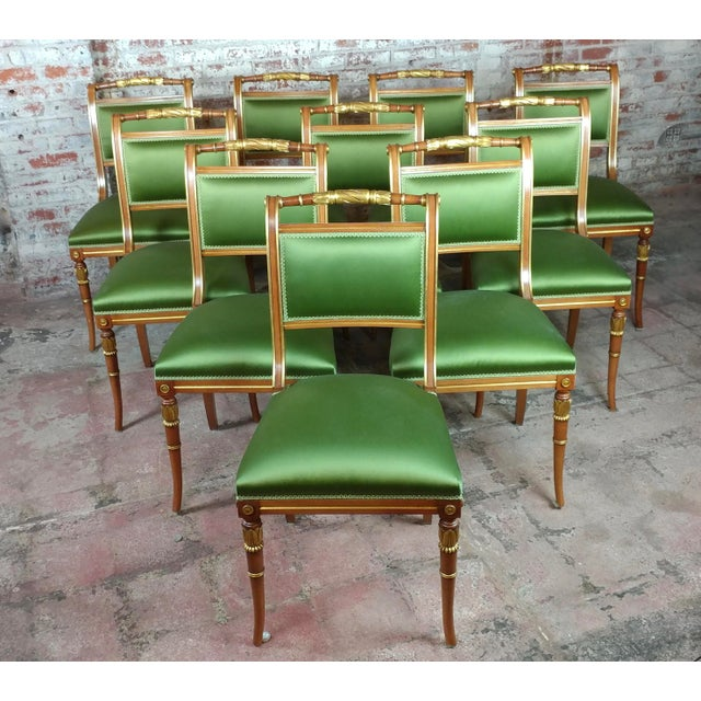 English Regency Parcel Gilt W/Satin Green Upholstery Dining Chairs -Set of 10 - Image 8 of 8