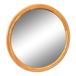 1960s Bamboo Round Mirror For Sale