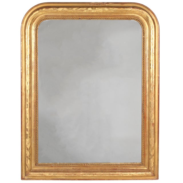 19th Century French Louis Philippe Gilt Mirror With Floral Design For Sale