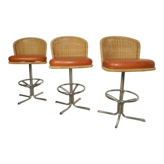 Three Mid-Century Chrome and Wicker Barstools by Daystom For Sale